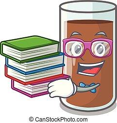 étudiant, lait, livre, délicieux, chocolat, dessin animé