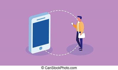 étudiant, ligne, smartphone, education, mâle, utilisation