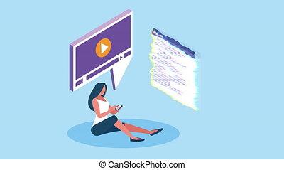 étudiant, ligne, smartphone, femme, education, utilisation