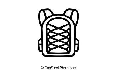 étudiant, sac à dos, textile, animation, icône