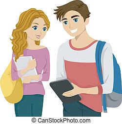 étudiant, tablette