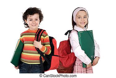 étudiants, écoliers, deux, retourner