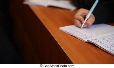 étudiants, écrire, cahier