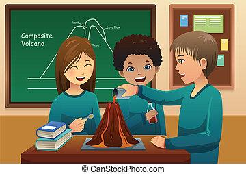 étudiants, élémentaire, expérience, volcan
