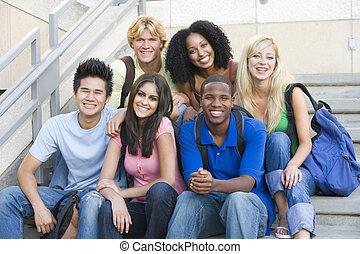 étudiants, étapes, université, groupe, séance