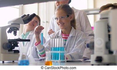 étudiants, étudier, école, chimie, prof