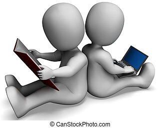 étudiants, étudier, livre, apprentissage, ligne, ou, spectacles