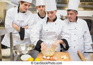 étudiants, apprentissage, pâte, culinaire, mélange, comment