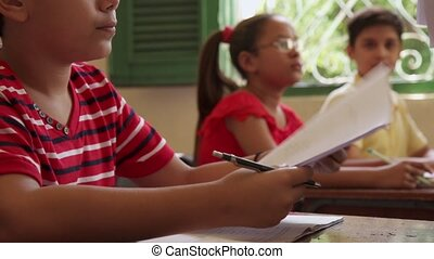 étudiants, essai, école, education, classe