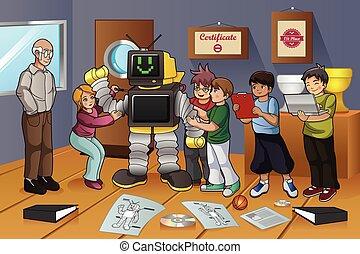 étudiants, expérience, robot, fonctionnement