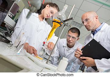 étudiants, fonctionnement, pipette, chimiste