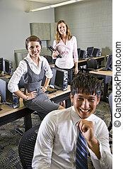 étudiants, informatique, collège, trois, laboratoire