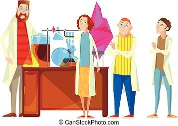 étudiants, laboratoire, composition