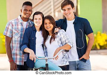 étudiants, lycee, groupe, dehors