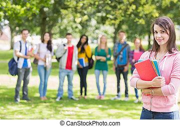 étudiants, parc, collège, girl, livres, tenue