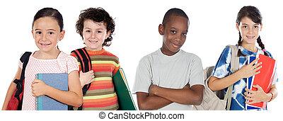 étudiants, quatre, écoliers, retourner