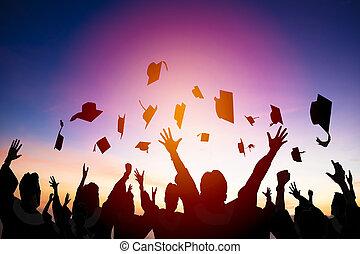 étudiants, remise de diplomes, air, lancement, casquettes, heureux