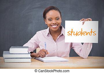 étudiants, tenue, projection, prof, page, heureux