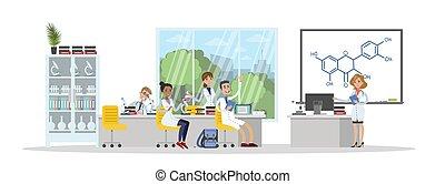 étudiants, université, chimie, étude, illustration