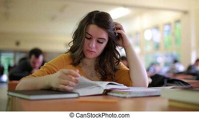 étudier, girl, bibliothèque