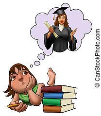 étudier, girl, examen, jeune, elle