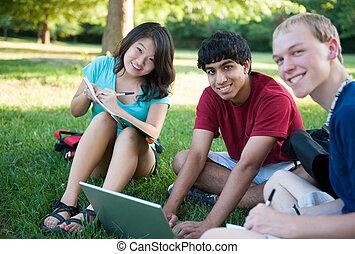 étudier, heureux, groupe, ados, trois