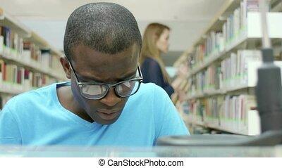 étudier, jeune, bibliothèque, gens