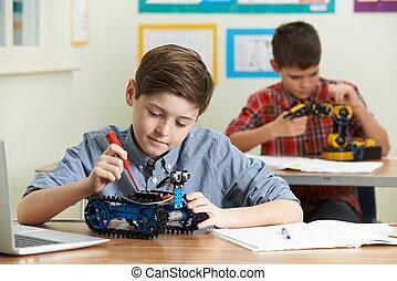 étudier, leçon, robotique, élèves, science