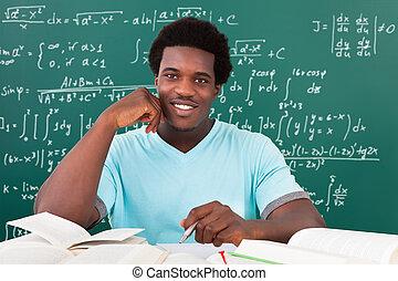 étudier, université, homme, jeune, africaine