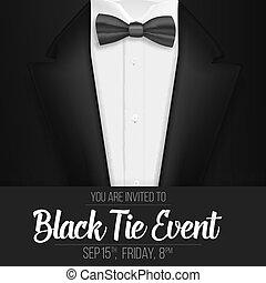 événement, invitation, mens, réaliste, suit., vecteur, costume noir, cravate, arc, template.