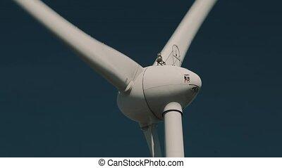 évalué, puissance, éolienne, version, closeup, plante