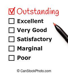 évaluation, formulaire, service, remarquable, client