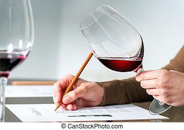 évaluer, rouges, sommelier, vin.