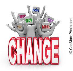 évoluer, gens, innover, adapter, équipe, changement, améliorer