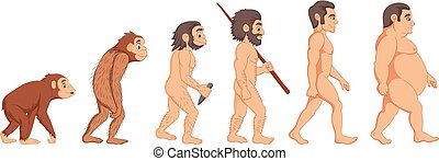 évolution, dessin animé, homme