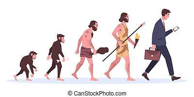 évolution, singe, man., homme affaires