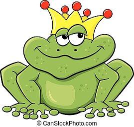 être, attente, embrassé, prince, grenouille