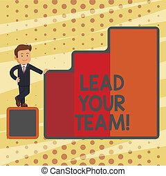 être, bon, ton, business, plomb, photo, projection, obtenir, écriture, conceptuel, team., accomplir, texte, goals., reussite, main, éditorial