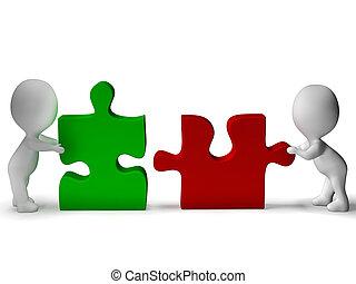 être, collaboration, puzzle, joint, morceaux, collaboration, spectacles