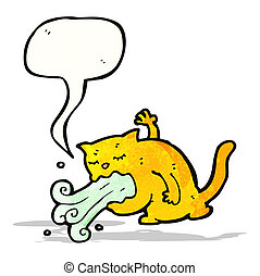 être, dessin animé, malade, chat