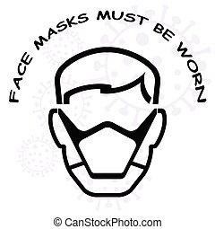 être, devoir, signe, porté, masque de protection
