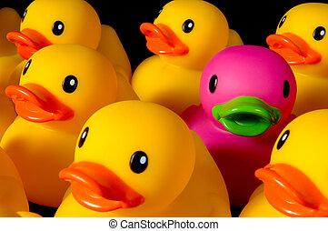 être, différent, -, canards, caoutchouc, noir, défi