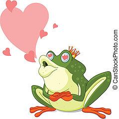 être, embrassé, grenouille, attente, prince
