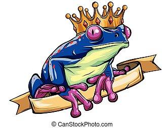 être, heart., grenouille, attente, vecteur, tenue, embrassé, prince
