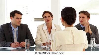 être, interviewé, femme affaires