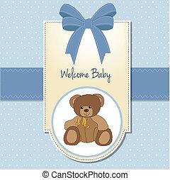 être, teddy, bébé, carte, accueil, garçon