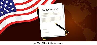 être, uni, carte, cadre, stylo, autorité, etats, amérique, drapeau, papier, signé, derrière, président, règlement, ordre