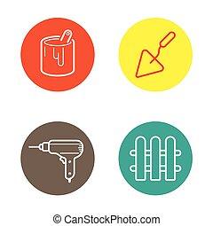 être, utilisé, icônes, rond, boutons, vecteur, boîte, logo, cercle, ou, icône