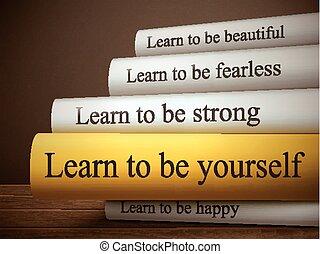être, vous-même, apprendre, livre, titre