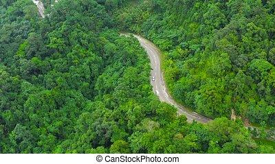 île, aérien, philippines., jungle, vue., luzon, route, nature, montagne